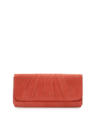 Caroline Leather Clutch Bag, Coral