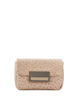 Iris Embossed Leather Clutch, Taupe