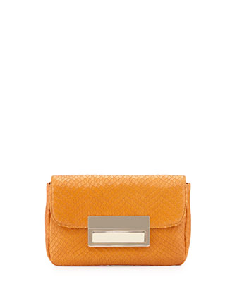 Iris Embossed Leather Clutch, Rust