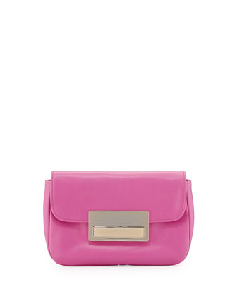 Iris Leather Clutch Bag, Pink