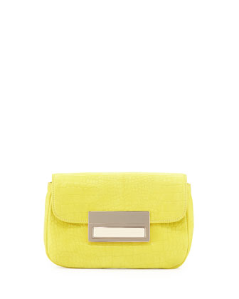 Iris Embossed Leather Clutch, Yellow
