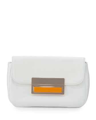 Iris Leather Clutch Bag, White