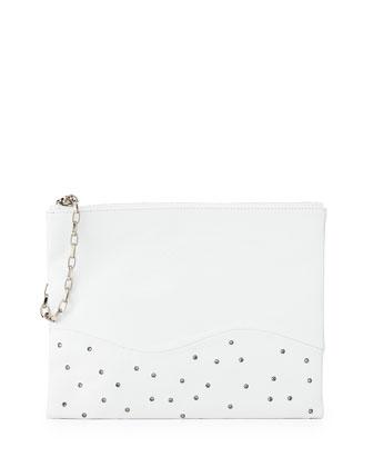 Winnie Lambskin Clutch Bag, White