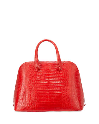 Dome Large Crocodile Satchel Bag, Red Matte