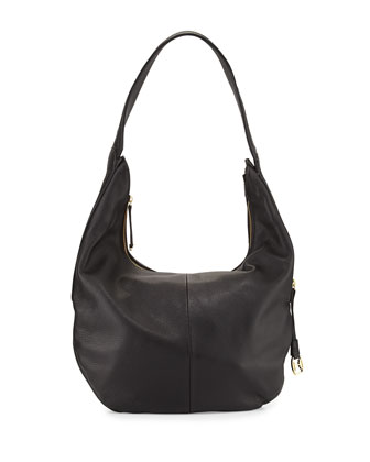 Pebbled Leather Zip-Top Hobo Bag, Black