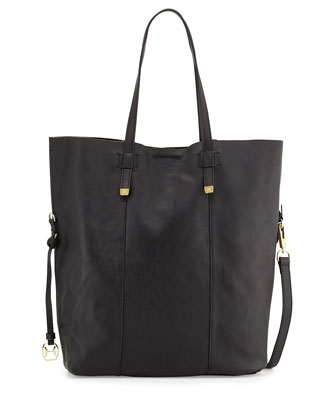 North/South Fold-Over Leather Tote Bag, Black