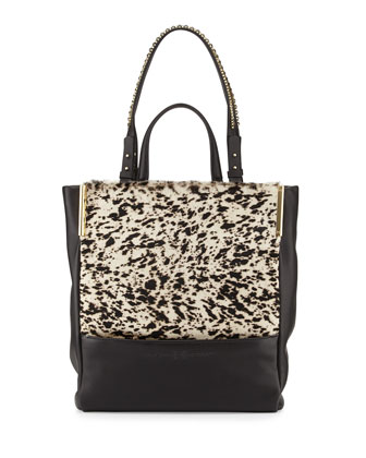 Calf Hair & Leather North/South Tote Bag, Black Multi