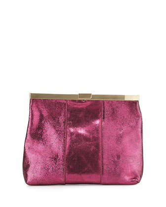 Textured Leather Framed Clutch Bag, Ruby