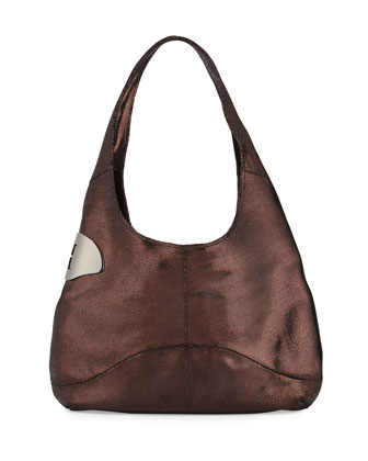 Leather Sack Hobo Bag, Pomegranate