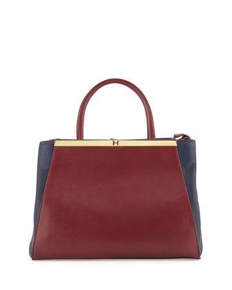 Colorblock Leather Satchel, Sangria