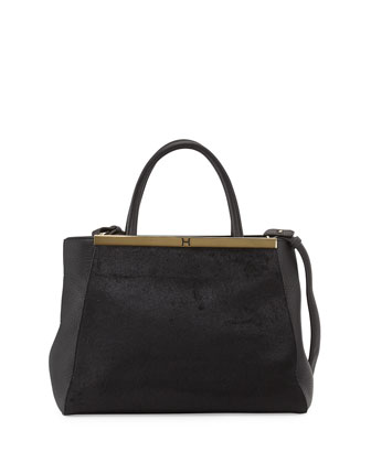 Leather Semi Constructed Satchel, Black