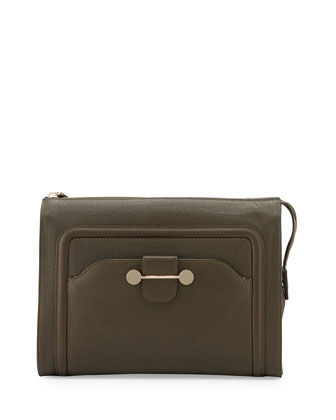 Daphne Leather Clutch Bag, Dark Olive
