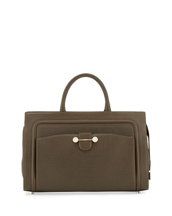 Daphne East West Leather Tote Bag, Dark Olive