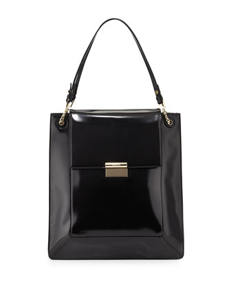 Christy Leather Shopper Tote Bag, Black
