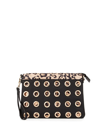 Flame Animal-Print & Grommeted Clutch Bag