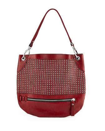 Faye Chain Weave Hobo Bag, Cabernet