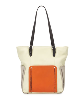 Brooklyn Leather Tote Bag, Butter Multi