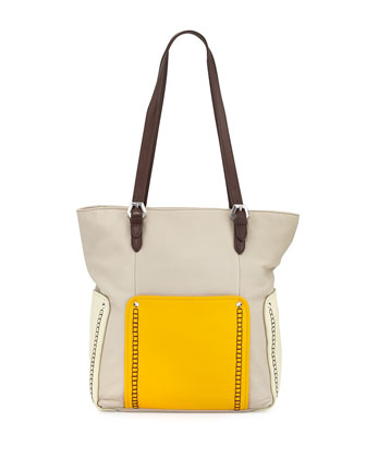 Brooklyn Leather Tote Bag, Stone Multi