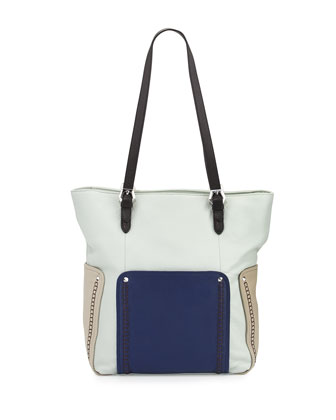 Brooklyn Leather Tote Bag, Seafoam Multi