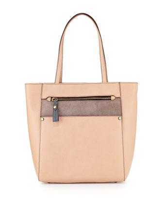 Daphne Colorblock Tote Bag, Almond