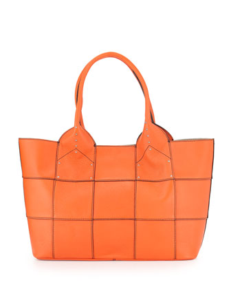 Summer Studded-Detail Tote Bag, Orange