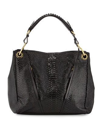 Bette Embossed Leather Shoulder Bag, Black