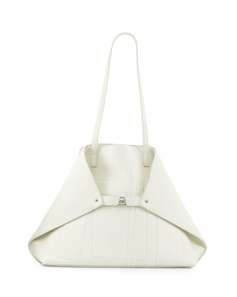 Akris Medium Cervo Leather Shoulder Bag, White