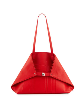 Akris Medium Cervo Leather Shoulder Bag, Bright Red