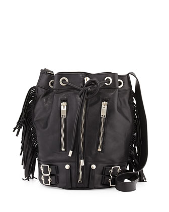 Rider Large Fringe Bucket Bag, Black