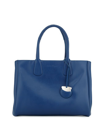 Nolita Large Gancio Saffiano Tote Bag, Sapphire
