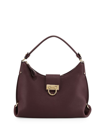 Fanisa Pebbled Gancini Hobo Bag, Rouge Noir