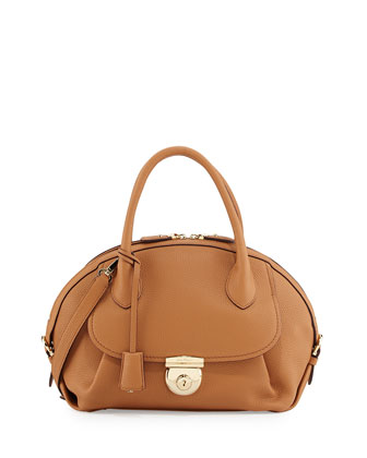 Fiamma Ornament Lock Satchel Bag, Sienne
