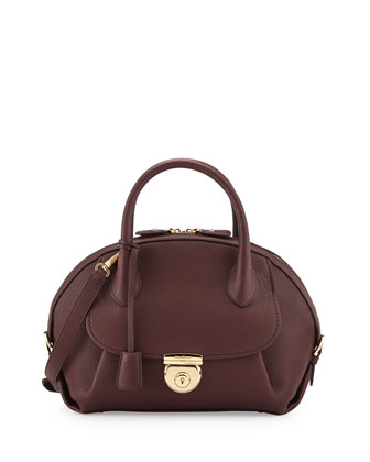 Fiamma Ornament Lock Satchel Bag, Rouge Noir