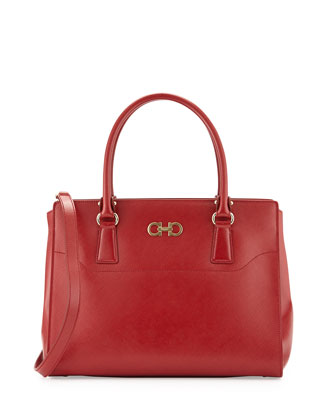 Beky Large Saffiano Tote Bag, Rosso