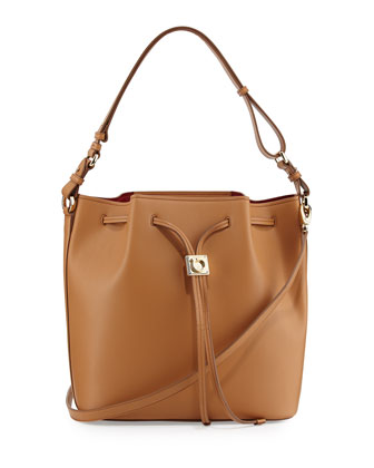 Sansy Leather Bucket Bag, Sienne