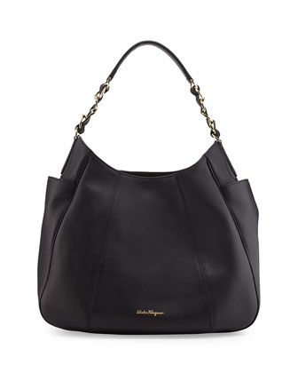 Elle Gancini-Chain Leather Hobo Bag, Nero