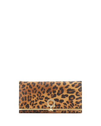 Icona Leopard Continental Flap Wallet, Cacao