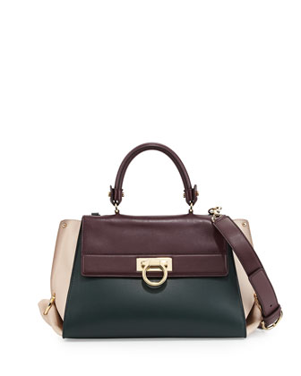 Sofia Colorblock Leather Satchel Bag, Feuille