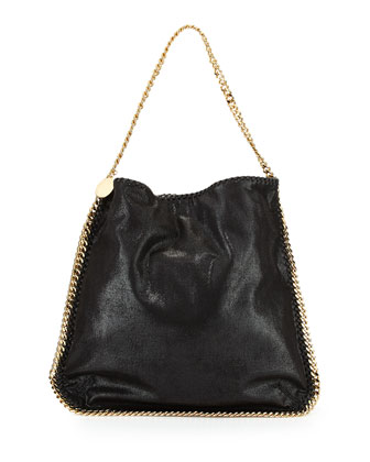 Faux-Leather Hobo Bag, Black