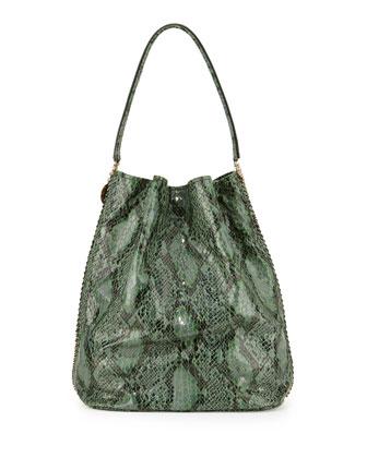 Faux-Snake Hobo Bag, Green