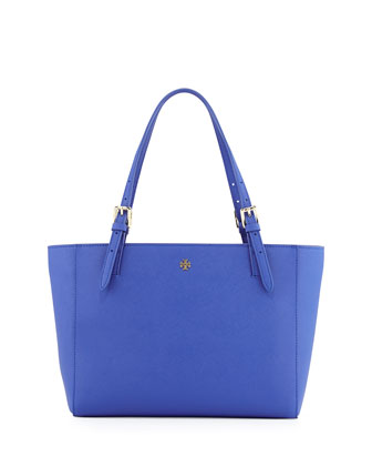 York Small Saffiano Tote Bag, Jelly Blue