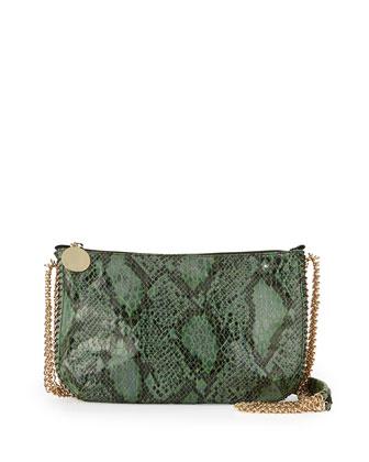 Snake-Print Crossbody Bag, Green