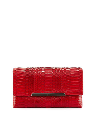 Rougissime Python Clutch Bag, Red