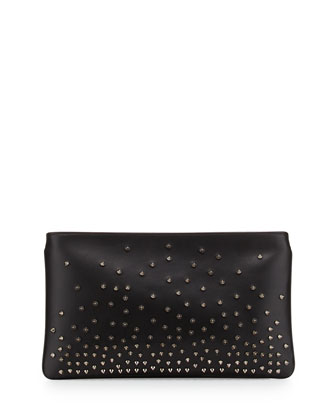 Loubiposh Degrade Spiked Evening Clutch Bag, Black/Gunmetal
