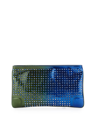 Loubiposh Spikes Clutch Bag, Metallic Blue