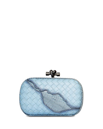 Woven Knot Snake-Inset Clutch Bag, Ciel Baby Blue