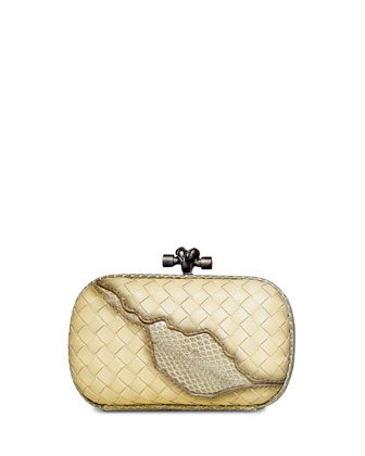 Woven Knot Snake-Inset Clutch Bag, Banane Pale Yellow