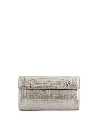 Small Double-Flap Clutch, Gunmetal Metallic