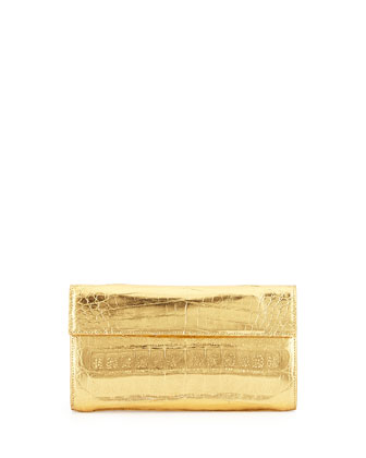 Small Double-Flap Clutch Bag, Gold Mirror