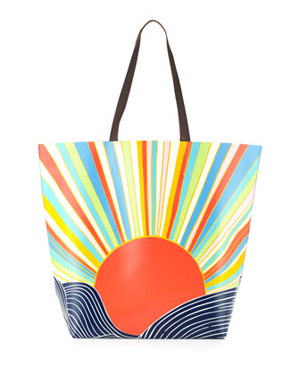 Embroidered Gauze Caftan & Sun-Print Vinyl Tote Bag